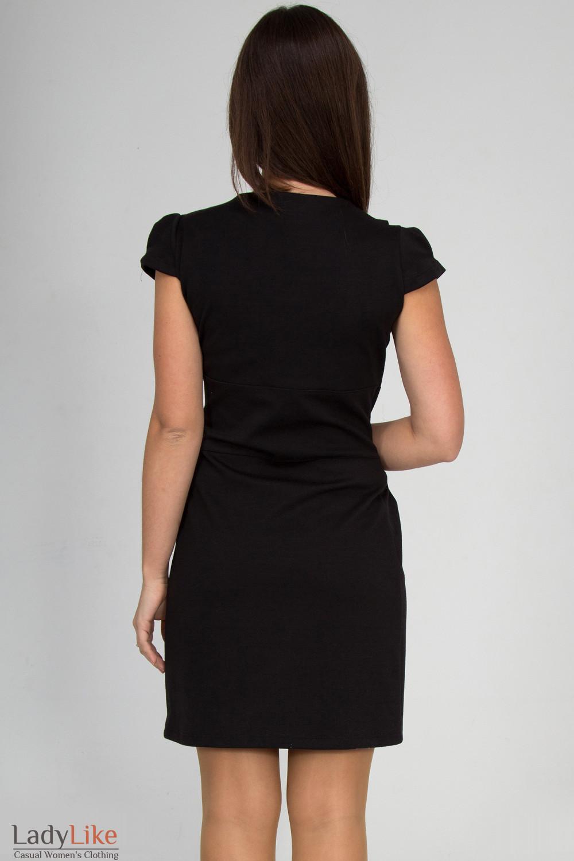 Фото Платье черное со складочками на воротнике  вид сзади Деловая женская одежда