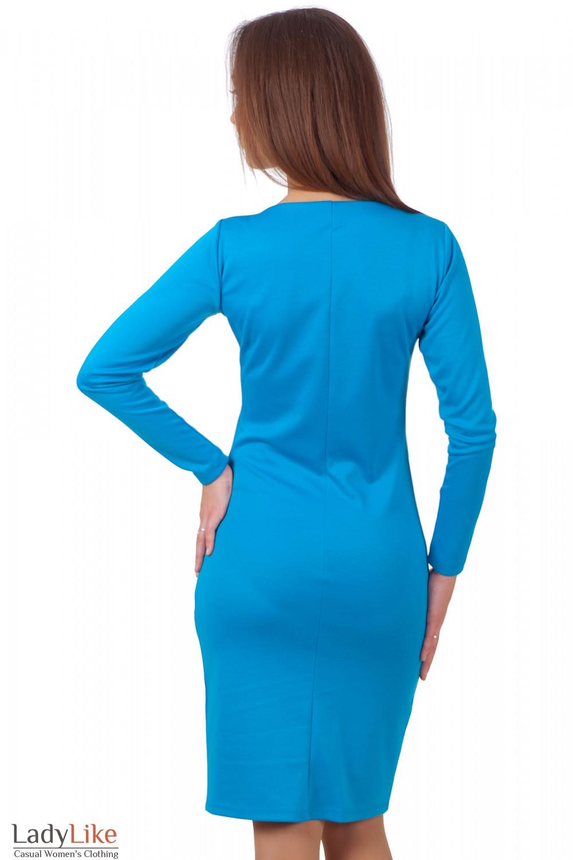 Фото Платье голубое трикотажное вид сзади Деловая женская одежда