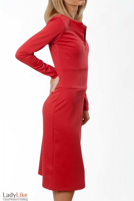 Купить платье коралловое трикотажное Деловая женская одежда