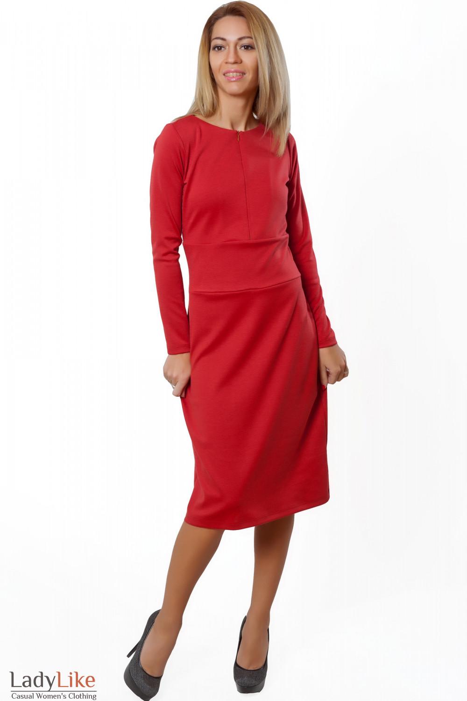 Купить платье коралловое трикотажное теплое. Деловая женская одежда