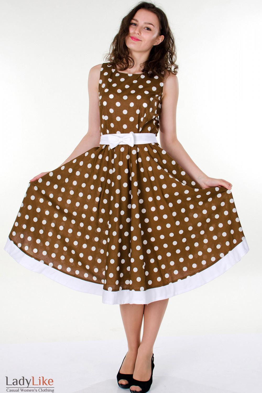 Фото Платье коричневое в горох вид спереди Деловая женская одежда