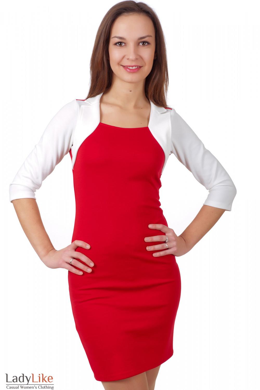 Трикотажное красное платье с белым воротником
