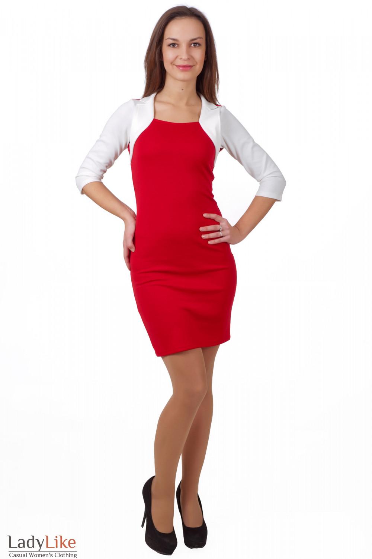 Фото Платье из красного трикотажа Деловая женская одежда