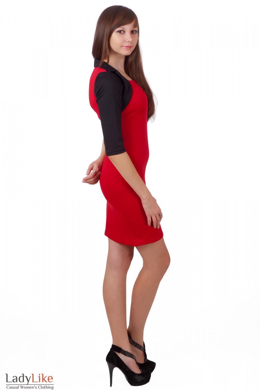 Фото Трикотажное красное платье Деловая женская одежда