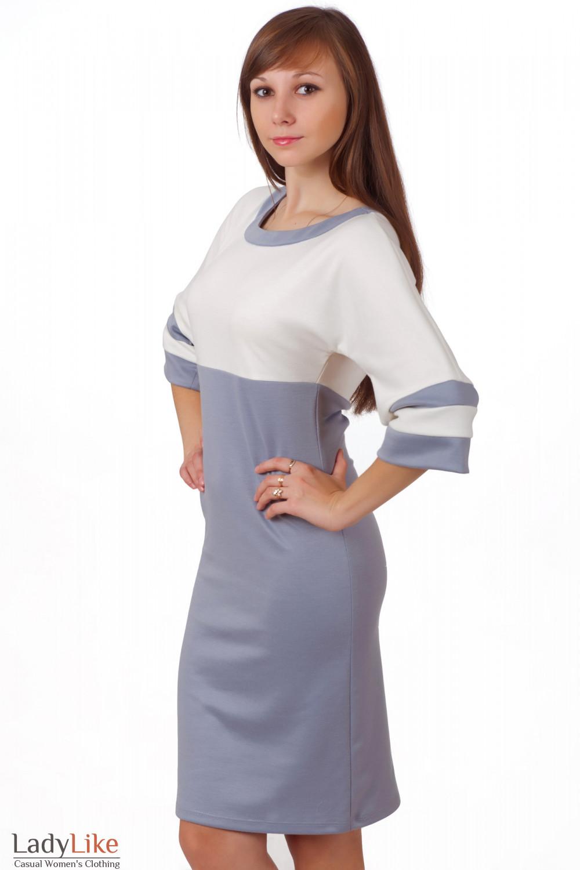 Фото Платье молочно-серое трикотажное Деловая женская одежда