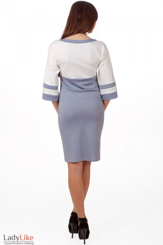 Фото Платье молочно-серое вид сзади Деловая женская одежда