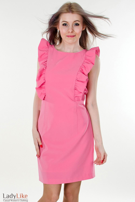 Фото Платье розовое с рюшами Деловая женская одежда