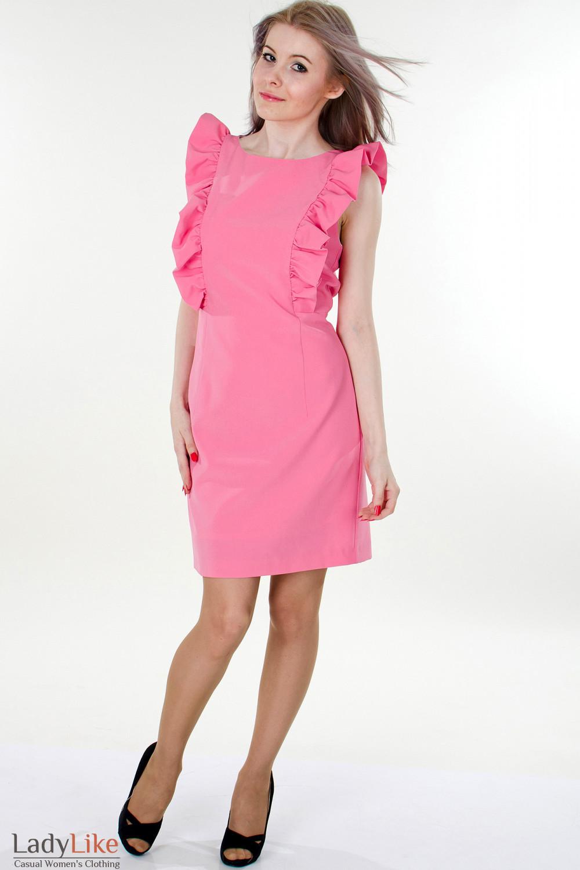 Фото Платье розовое с рюшами вид спереди Деловая женская одежда