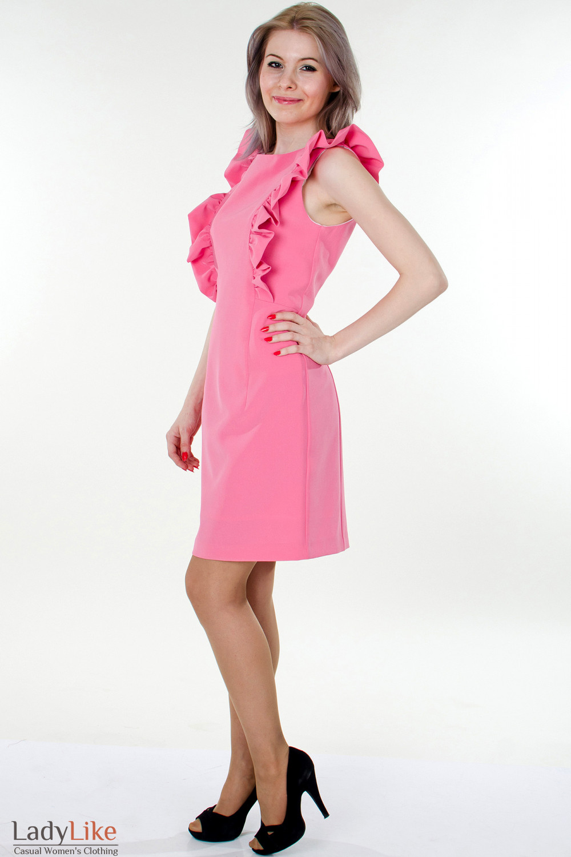 Фото Платье розовое с рюшами вид сбоку Деловая женская одежда