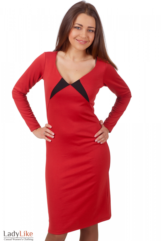 Фото Платье рыжее с черными вставками Деловая женская одежда