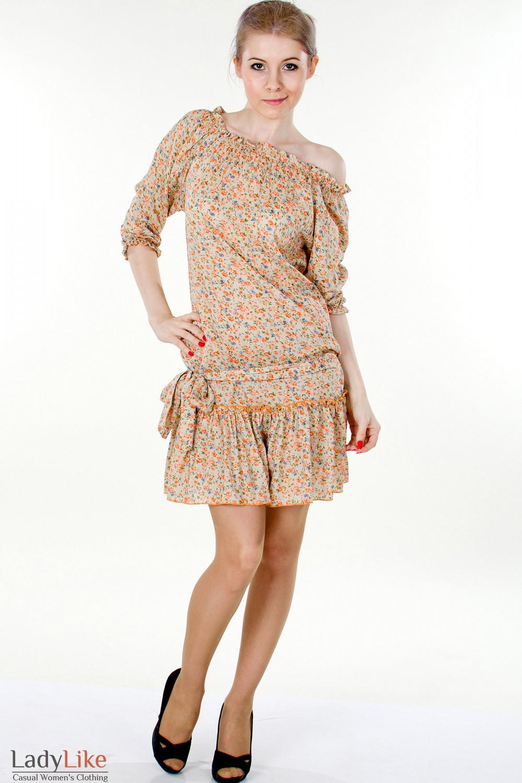 Фото Платье рыжее с открытыми плечами вид спереди Деловая женская одежда