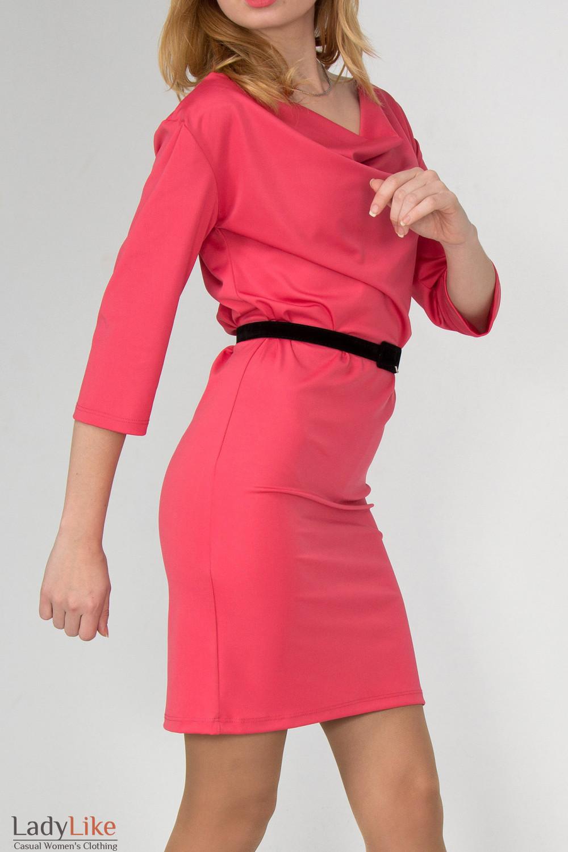 Фото Платье с качелькой коралловое вид сбоку Деловая женская одежда