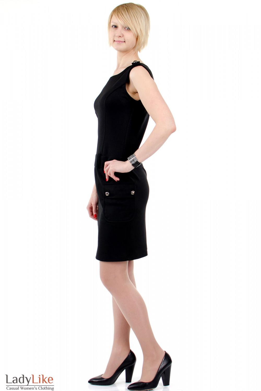 Фото Платье с накладными карманами чёрное. Вид слева Деловая женская одежда