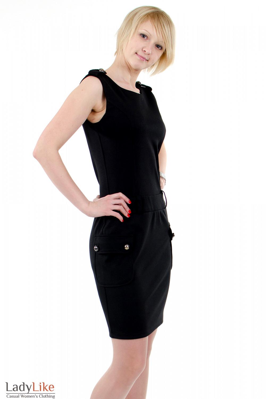 Фото Платье с накладными карманами чёрное. Вид справа Деловая женская одежда