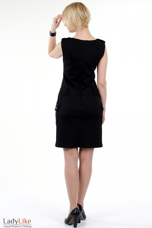 Фото Платье с накладными карманами чёрное. Вид сзади Деловая женская одежда