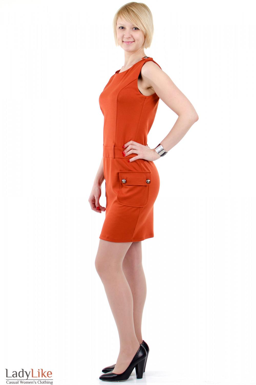 Фото Платье с накладными карманами теракотовое. Вид слева Деловая женская одежда
