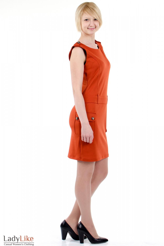 Фото Платье с накладными карманами теракотовое.Вид справа Деловая женская одежда
