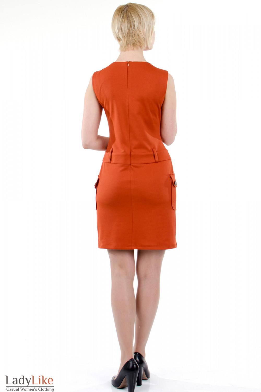 Фото Платье с накладными карманами теракотовое. Вид сзади Деловая женская одежда