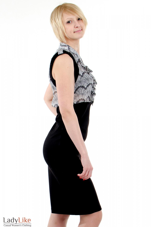 Фото Платье с шифоном чёрно-белое. Вид сбоку Деловая женская одежда
