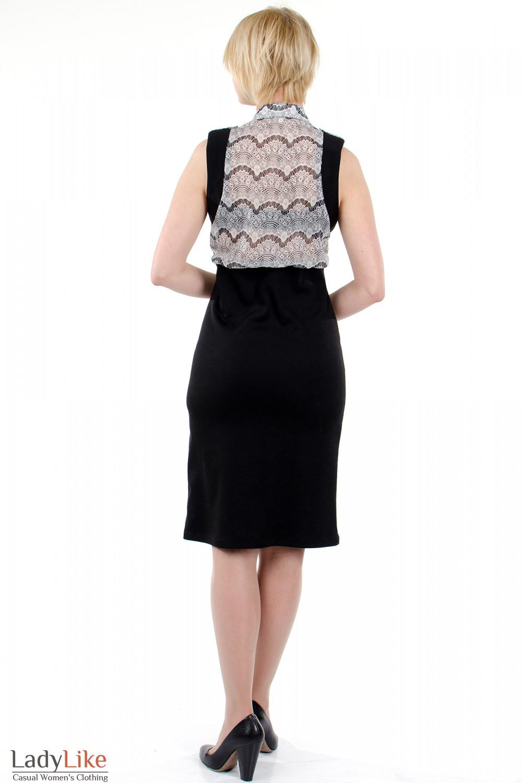 Фото Платье с шифоном чёрно-белое. Вид сзади Деловая женская одежда