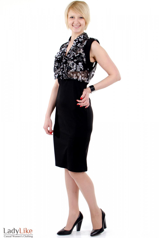 Фото Платье с шифоном черное. Вид сбоку. Деловая женская одежда