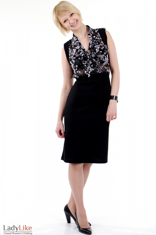 Фото Платье с шифоном черное. Вид спереди. Деловая женская одежда