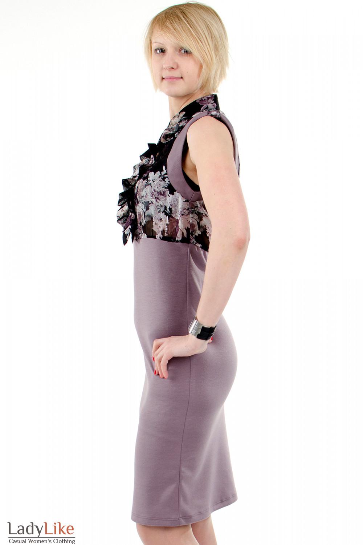 Фото Платье с шифоном фиолетовое. Вид слева. Деловая женская одежда