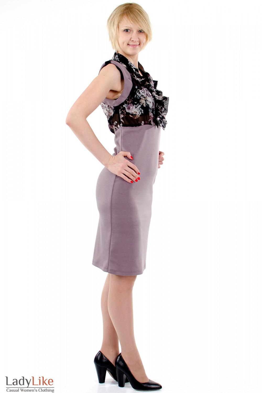 Фото Платье с шифоном фиолетовое. Вид справа. Деловая женская одежда