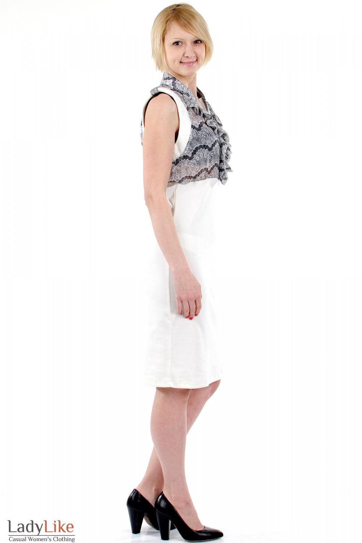 Фото Платье с шифоном молочное. Вид сбоку. Деловая женская одежда