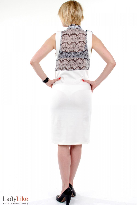 Фото Платье с шифоном молочное. Вид сзади. Деловая женская одежда