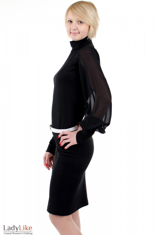 Фото Платье с шифоновыми рукавами чёрное. Вид слева Деловая женская одежда