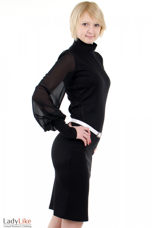 Фото Платье с шифоновыми рукавами чёрное. Вид справа Деловая женская одежда