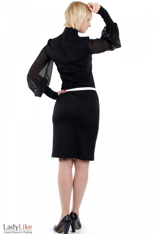 Фото Платье с шифоновыми рукавами чёрное. Вид сзади Деловая женская одежда