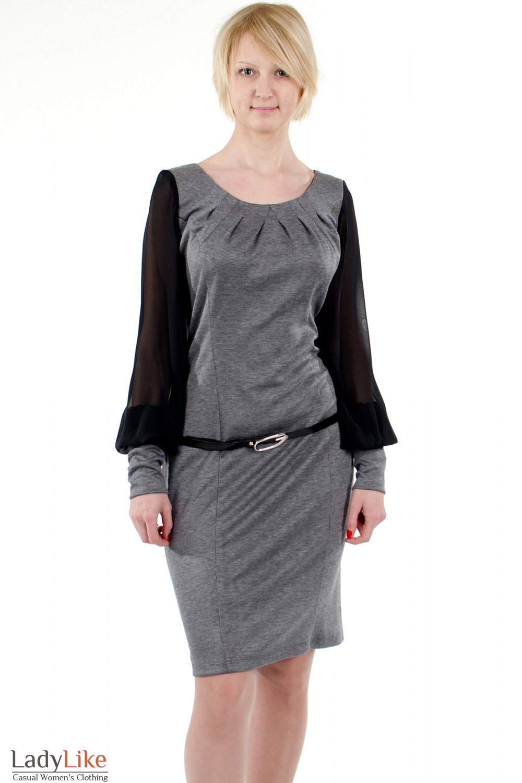 Фото Платье с шифоновыми рукавами серое. Деловая женская одежда