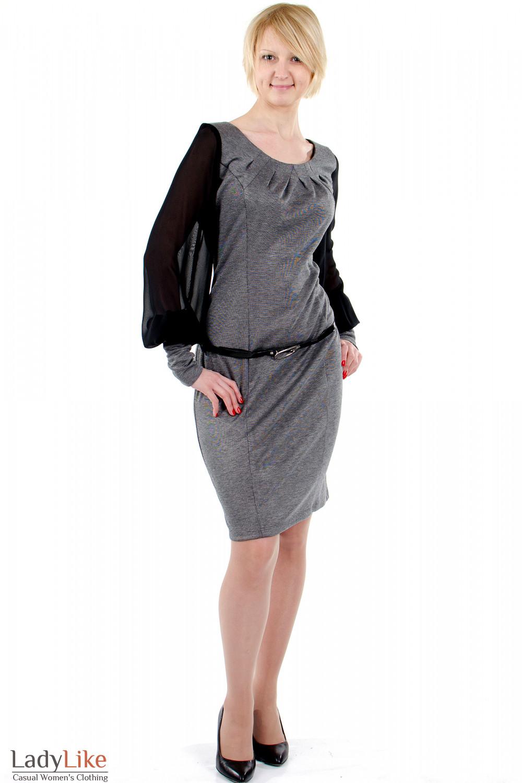 Фото Платье с шифоновыми рукавами серое.. Вид спереди. Деловая женская одежда