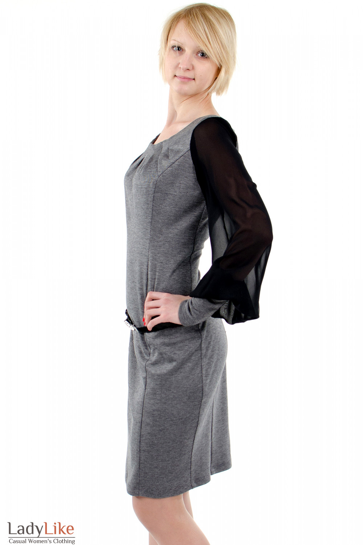 Фото Платье с шифоновыми рукавами серое. Вид слева. Деловая женская одежда