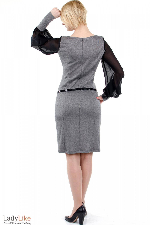 Фото Платье с шифоновыми рукавами серое. Вид сзади. Деловая женская одежда