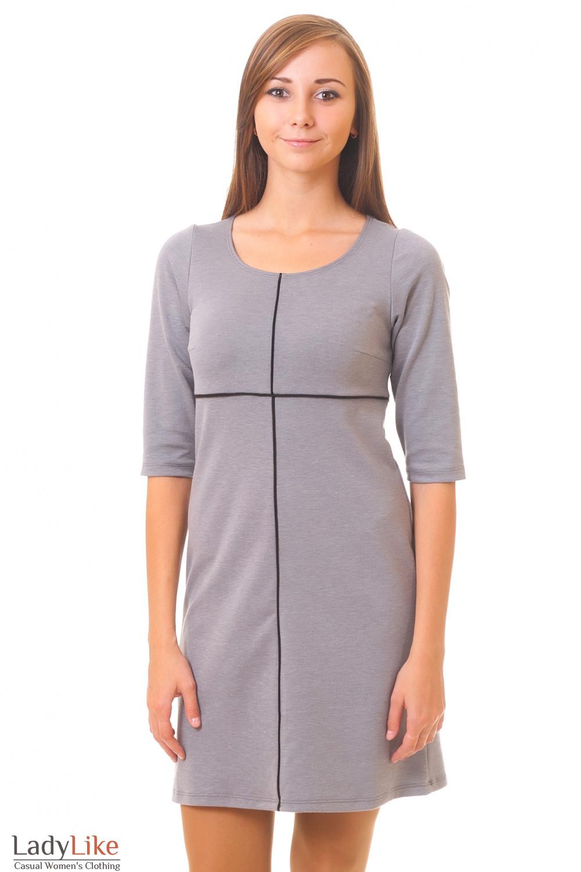 Серое трикотажное платье Деловая женская одежда