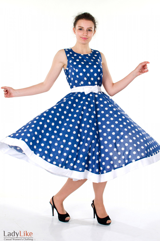 Фото Платье синее в горох вид спереди Деловая женская одежда