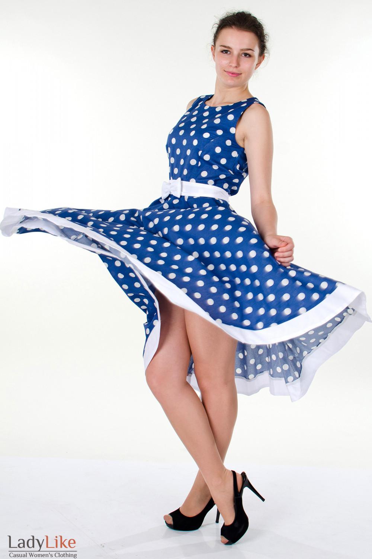 Фото Платье синее в горох вид сбоку Деловая женская одежда