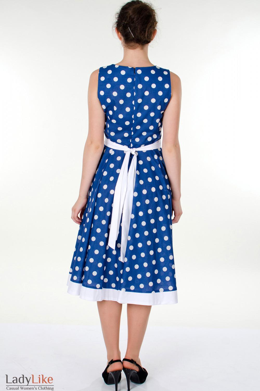 Фото Платье синее в горох вид сзади Деловая женская одежда