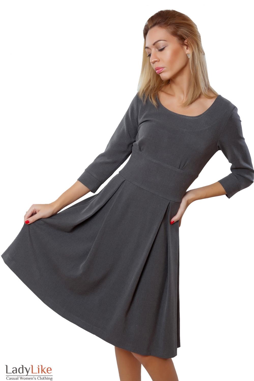 Платье темно-серое с пышной юбкой Деловая женская одежда