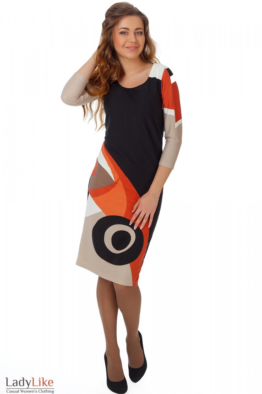Фото Платье трикотажное с рыжим рисунком вид спереди Деловая женская одежда