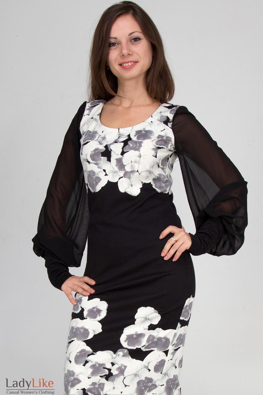 Фото Платье трикотажное в цветы Деловая женская одежда