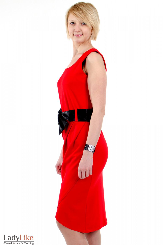 Фото Платье тюльпан красное. Вид слева Деловая женская одежда