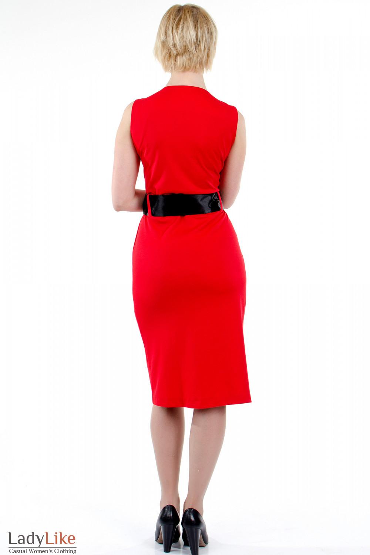 Фото Платье тюльпан красное. Вид сзади Деловая женская одежда