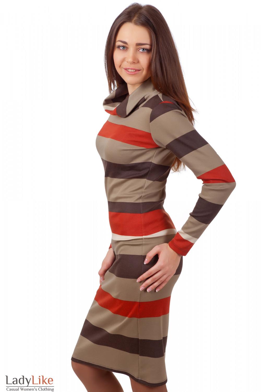 Фото Платье в коричневую полоску Деловая женская одежда