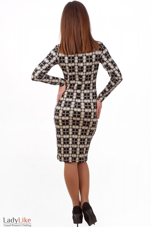 Фото Платье трикотажное с длинным рукавом Деловая женская одежда