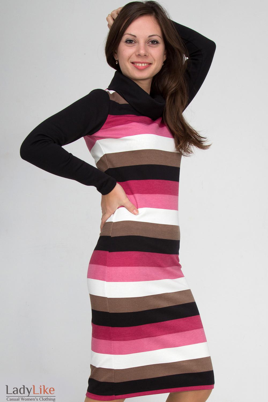 Фото Платье в розовую полоску. Вид сбоку Деловая женская одежда