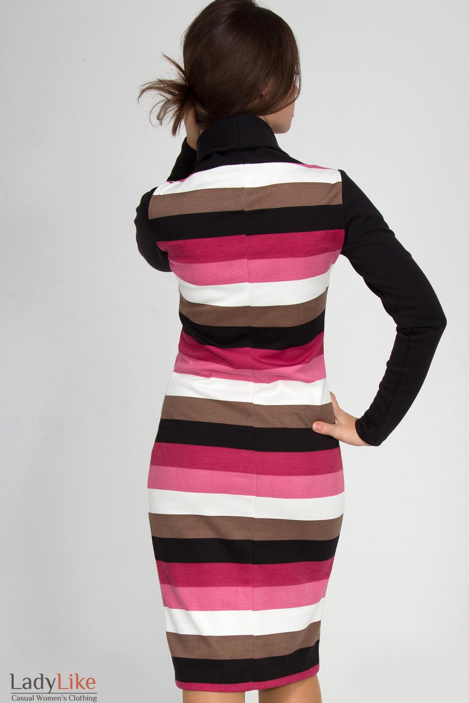 Фото Платье в розовую полоску. Вид сзади  Деловая женская одежда